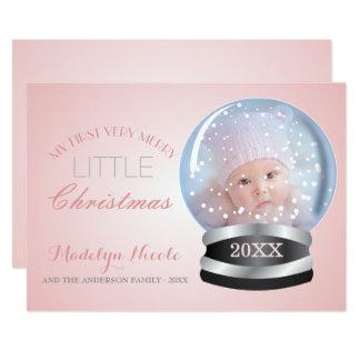 Baby för flicka för snöjordklot rosa 1st foto för 12,7 x 17,8 cm inbjudningskort