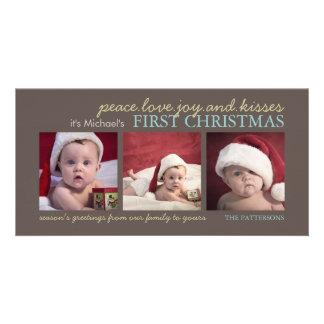Baby för fredkärlekglädje första kort för foto för