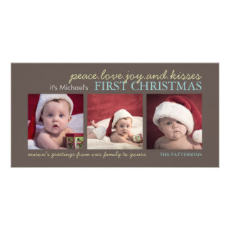 Baby för fredkärlekglädje första kort för foto för fotokort
