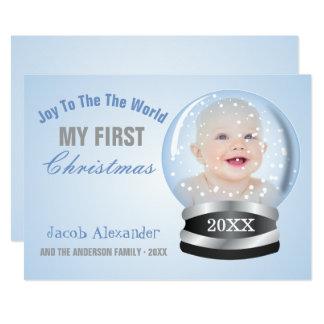 Baby för pojke för snöjordklotblått 1st foto för 12,7 x 17,8 cm inbjudningskort