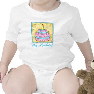 Baby första (1st) ranka för spädbarn för födelseda krypdräkt
