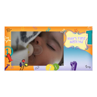 Baby första födelsedagkort fotokort