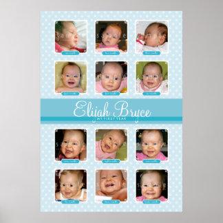 BABY FÖRSTA för 12 pojke för MINNESSAK FÖDELSEDAGM Poster