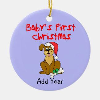 Baby första hund för julvalp julgransprydnad keramik