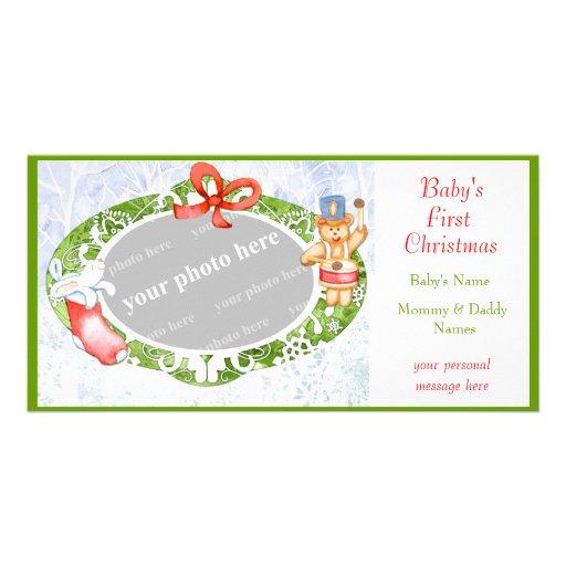 Baby första jul anpassade foto kort