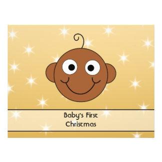 Baby första jul. På guld- färgbakgrund Flygblad Designs