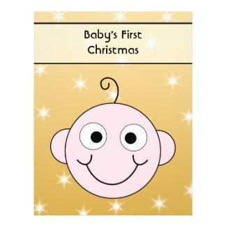 Baby första jul. På guld- färgbakgrund Flygblad