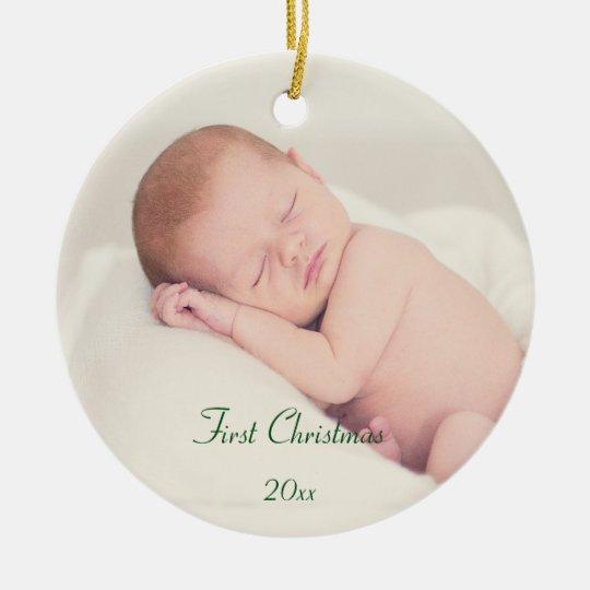Baby första jul rund julgransprydnad i keramik