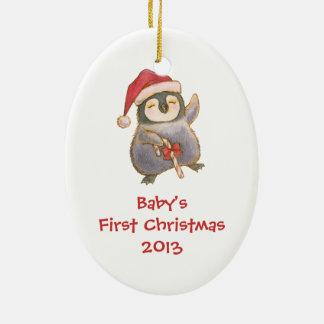 Baby första julprydnad med pingvinet julgransprydnad keramik