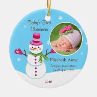 Baby första julprydnad rund julgransprydnad i keramik