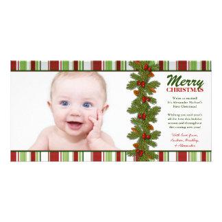 Baby första kort för foto för julhelgdag anpassingsbara fotokort