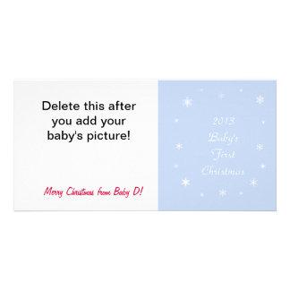 Baby första kort för foto för julsnowflake fotokort mall