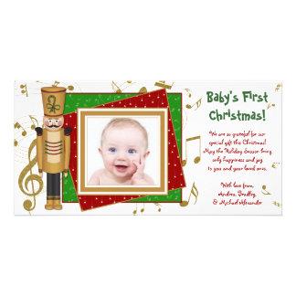 Baby första kort för foto för soldat för julleksak foto kort