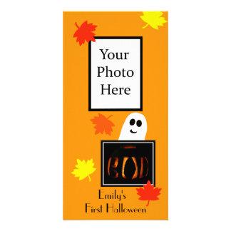 Baby första kort för Halloween foto