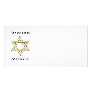 Baby första påskhögtid hälsningskort med foto
