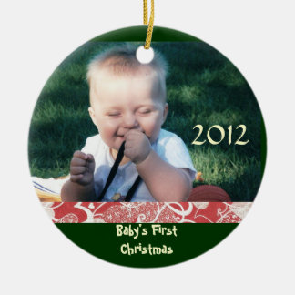 Baby första prydnad för julfoto julgransprydnad keramik