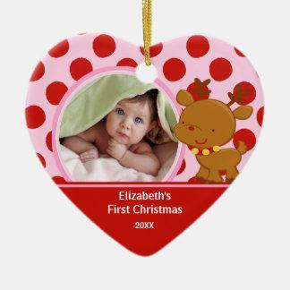 Baby första ren för prydnad för julfoto julgransdekorationer