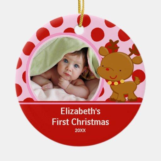 Baby första ren för prydnad för julfoto julgransdekoration