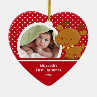 Baby första ren för prydnad för julfoto juldekoration