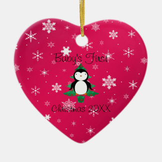 Baby första snöflingor för rosor för julpingvin hjärtformad julgransprydnad i keramik