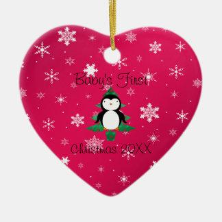 Baby första snöflingor för rosor för julpingvin julgransprydnad keramik