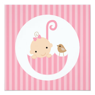 Baby i rosa paraplybaby shower fyrkantigt 13,3 cm inbjudningskort