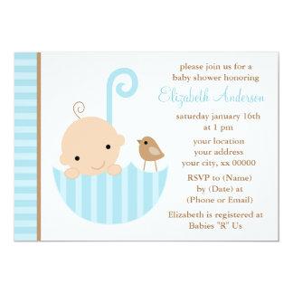 Baby med hjärtfel i paraplybaby shower 12,7 x 17,8 cm inbjudningskort
