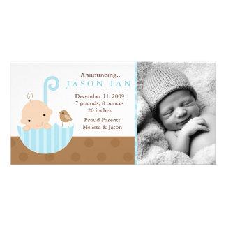 Baby med hjärtfel i paraplytillkännagivande för fö foto kort