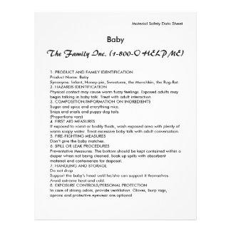 Baby MSDS/SDS Reklamblad 21,5 X 30 Cm