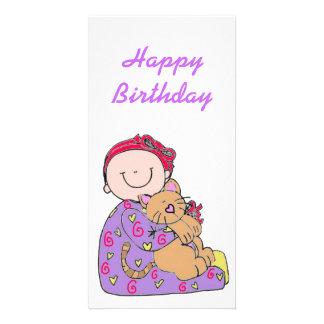 Baby- och kattgrattis på födelsedagen fotokort