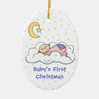 Baby på den första julprydnaden för moln julgransprydnad keramik