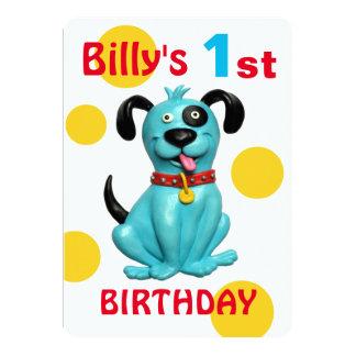 Baby pojke för hund för valp för blått för 1st 12,7 x 17,8 cm inbjudningskort