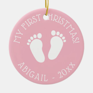 Baby prydnad för fotspår för 1st julgran gullig julgransprydnad keramik