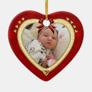 Baby prydnad för hjärta för foto för första jul julgransprydnad keramik