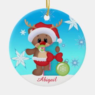 Baby prydnad för ren för första jul gullig rund julgransprydnad i keramik