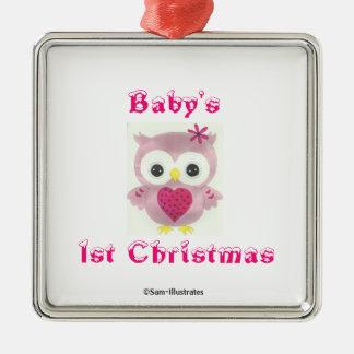 Baby prydnad för träd för uggla för 1st jul rosa julgransprydnad metall