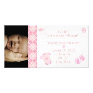 Baby rosa Argyle - det är en flicka - vårt dyrbart Fotokort