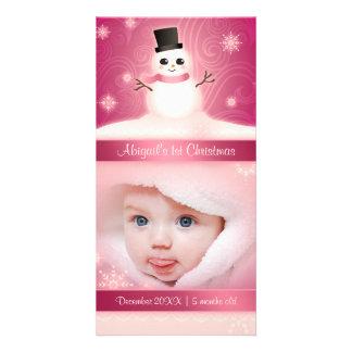 Baby rosor för snögubbe för 1st jul gulliga foto kort