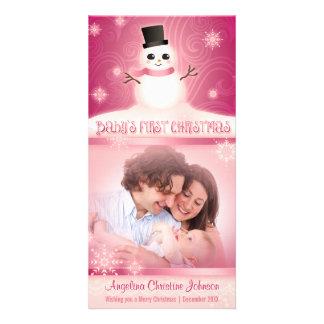 Baby rosor för snögubbe för första jul gulliga skräddarsydda fotokort