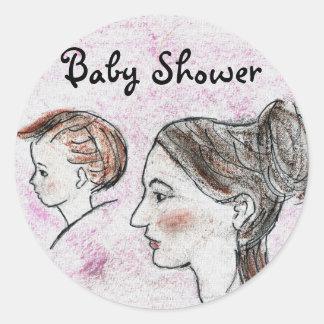 Baby shower av mor- & barnklistermärken runt klistermärke