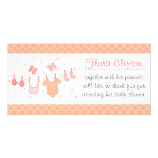 Baby shower Barnkläder på klädstreck Anpassade Foto Kort