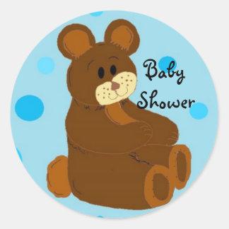 Baby shower rund klistermärke
