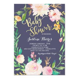 Baby shower blåa blommor, guld- inbjudan