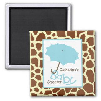 Baby shower - blåttparaply och girafftryck