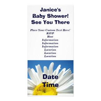 Baby shower! Blommor för inbjudanvitdaisy Hälsningskort Med Foto