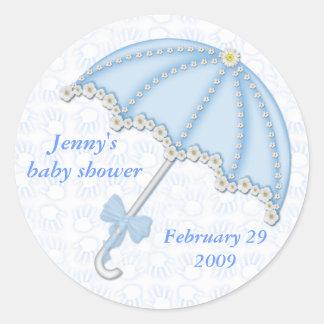baby shower blue1, Jennys baby shower, Februar… Runt Klistermärke