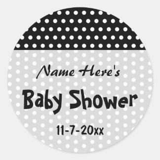 Baby shower den svartvita polkaen pricker modellen runt klistermärke
