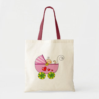 Baby shower (flicka) tote bags
