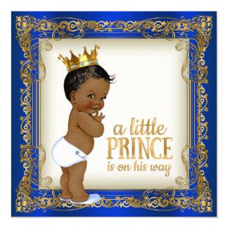 Baby shower för afrikansk amerikanPrince Person Fyrkantigt 13,3 Cm Inbjudningskort