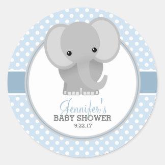 Baby shower för babyelefant (blått) runt klistermärke